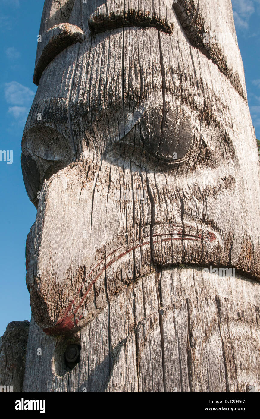 First Nation totem pole at the courthouse in Prince Rupert, British Columbia, Canada - Stock Image