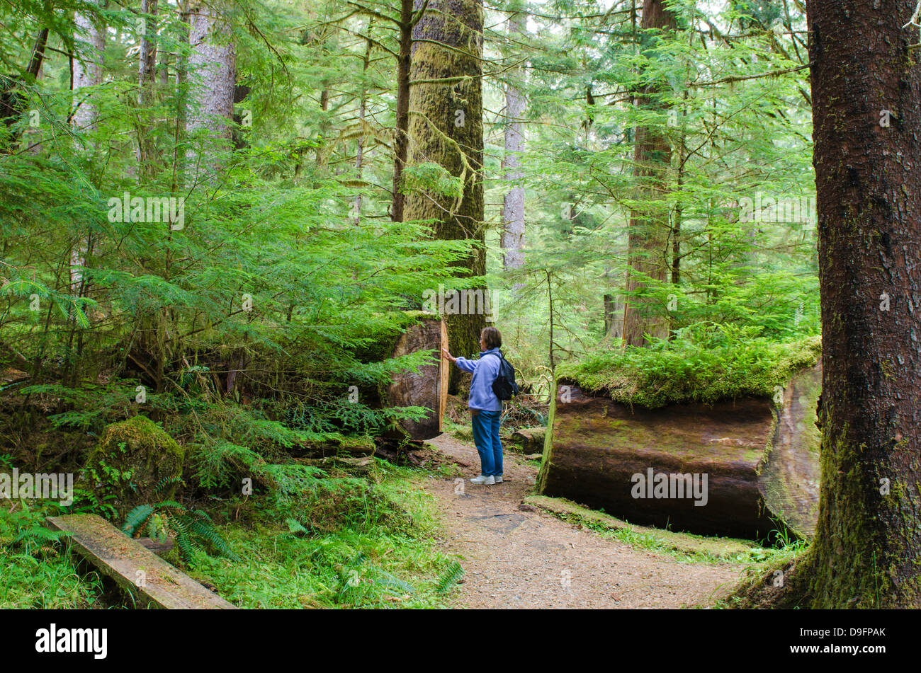 Hiking in Naikoon Provincial Park, Haida Gwaii (Queen Charlotte Islands), British Columbia, Canada - Stock Image