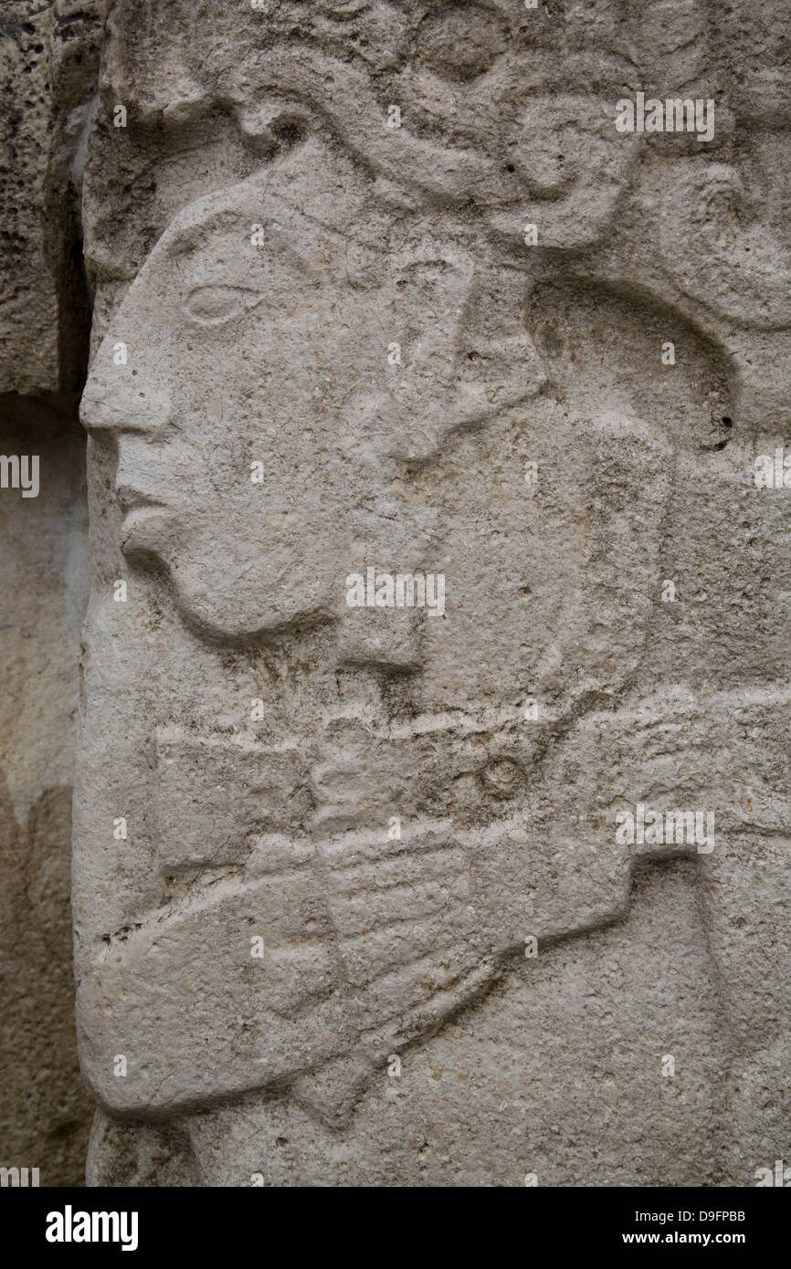 Stone carving of Pacal the Great, Palenque ruler, Palenque Archaeological Zone, UNESCO World Heritage Site, Chiapas, - Stock Image