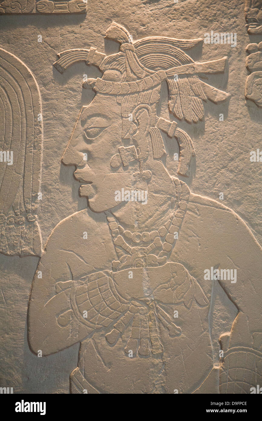 Stucco motif of a slave, Archaeological Museum of Palenque, Palenque Archaeological Zone, Chiapas, Mexico - Stock Image