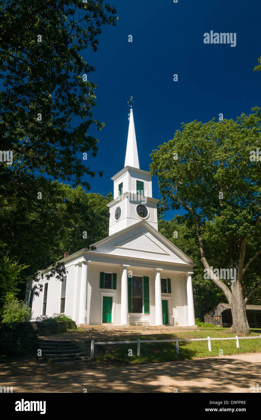 Church at Old Sturbridge Village, a museum depicting early New England life in Sturbridge, Massachusetts, New England, - Stock Image