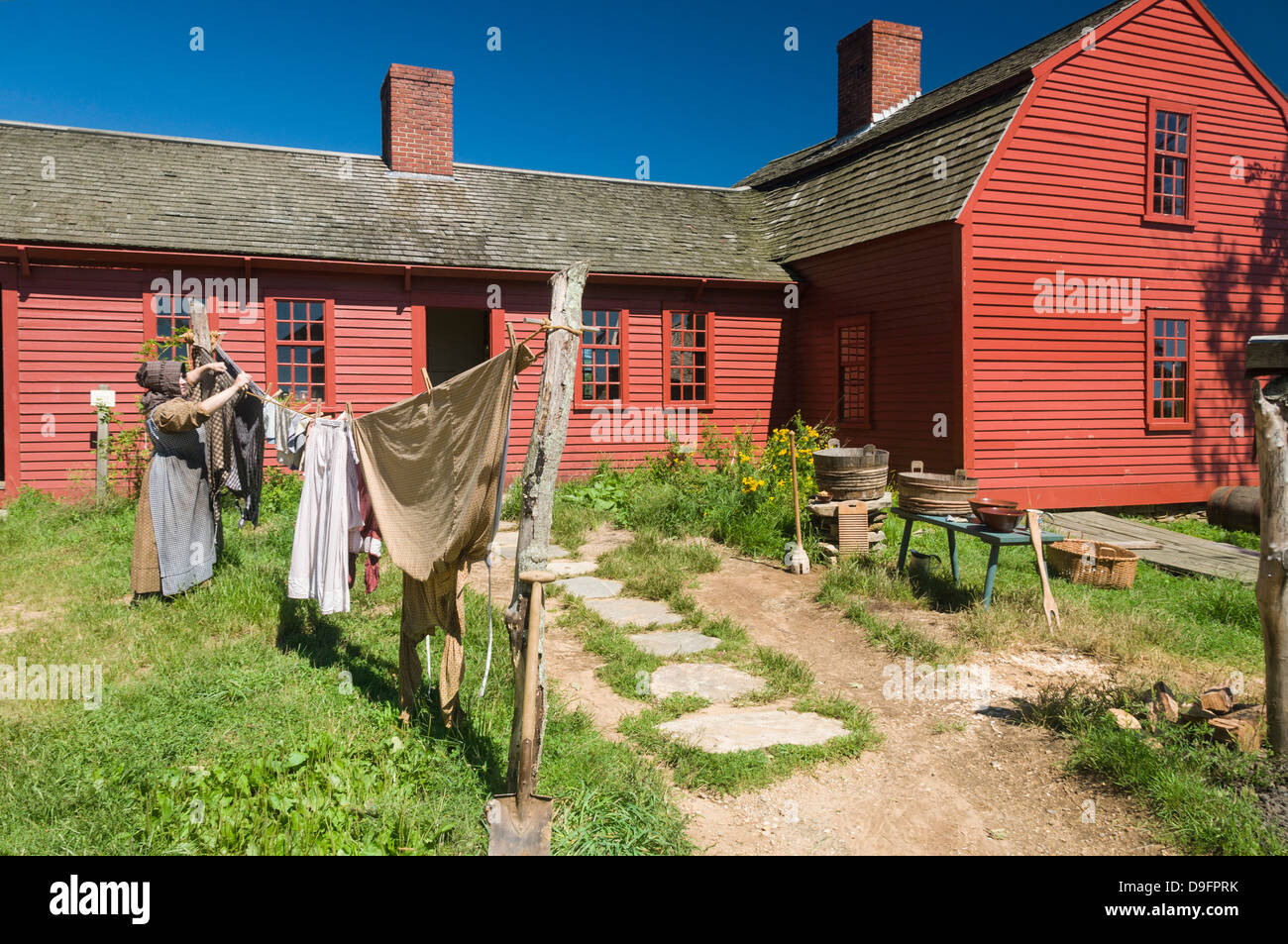 Recreating past times at Old Sturbridge Village, a museum depicting early New England life, Massachusetts, New England, - Stock Image