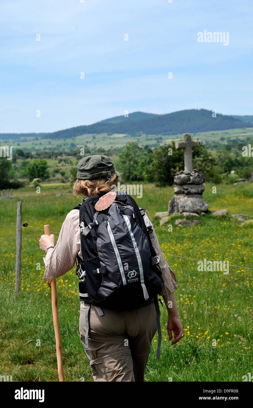 Pilgrim on the Way of St. James, Christian pilgrimage route towards Saint-Jacques-de-Compostelle, Languedoc-Roussillon, - Stock Image
