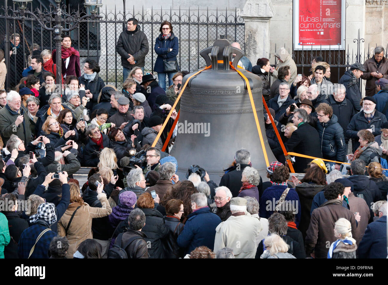 Arrival of the new bell chime on the 850th anniversary of Notre-Dame de Paris, Paris, France Stock Photo