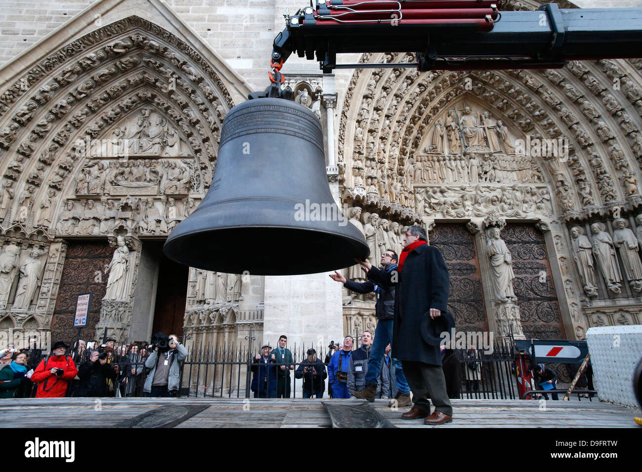 Arrival of the new bell chime, the biggest bell weighing six tons, on 850th anniversary of Notre Dame de Paris, - Stock Image