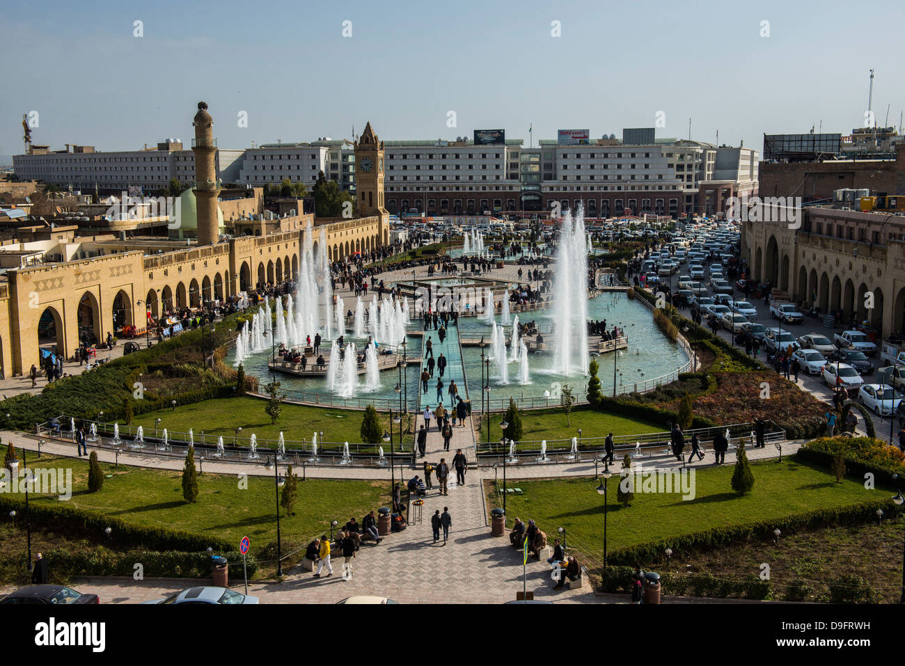 View from the citadel in Erbil (Hawler) over the bazaar, capital of Iraq Kurdistan, Iraq, Middle East - Stock Image