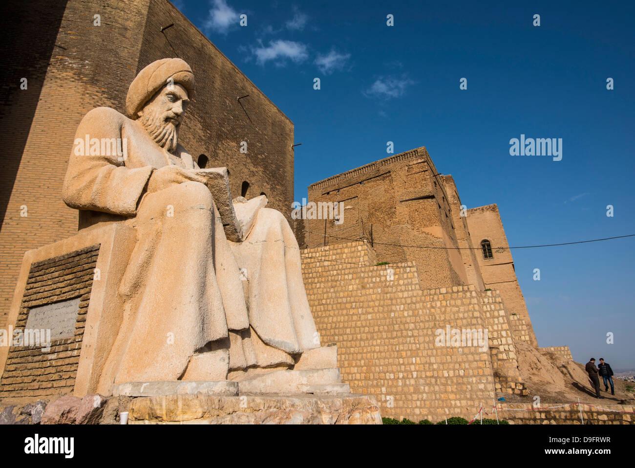 Statue of Mubarek Ahmed Sharafaddin in front of the citadel of Erbil (Hawler), capital of Iraq Kurdistan, Iraq, - Stock Image