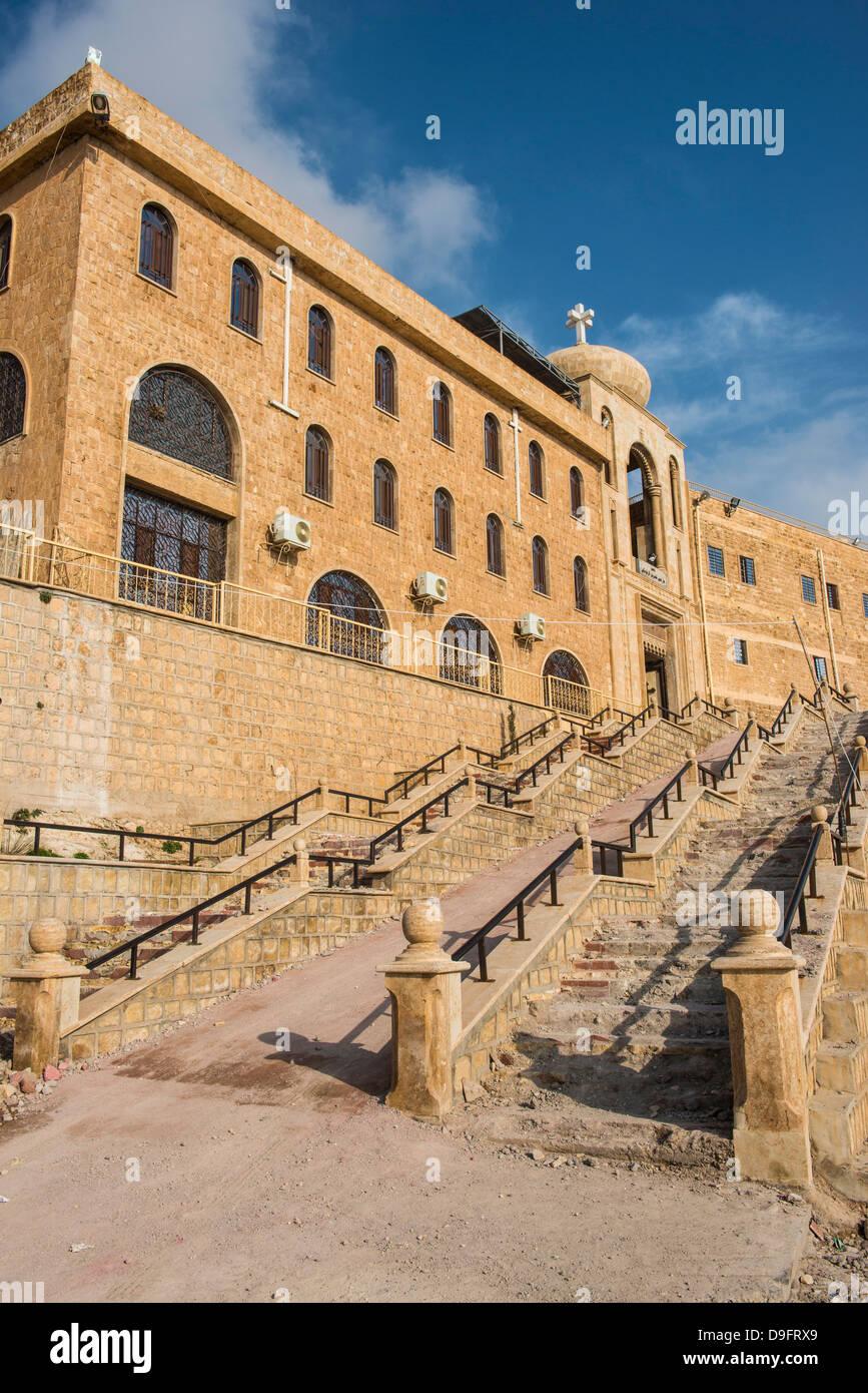 Syrian Orthodox Monastery Mar Mattai, (St. Matthews Monastery) overlooking Mosul, Iraq, Middle East - Stock Image