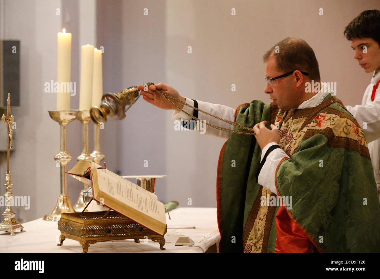 Incense during Mass, St. Louis church, Villemomble, Seine-St. Denis, France - Stock Image