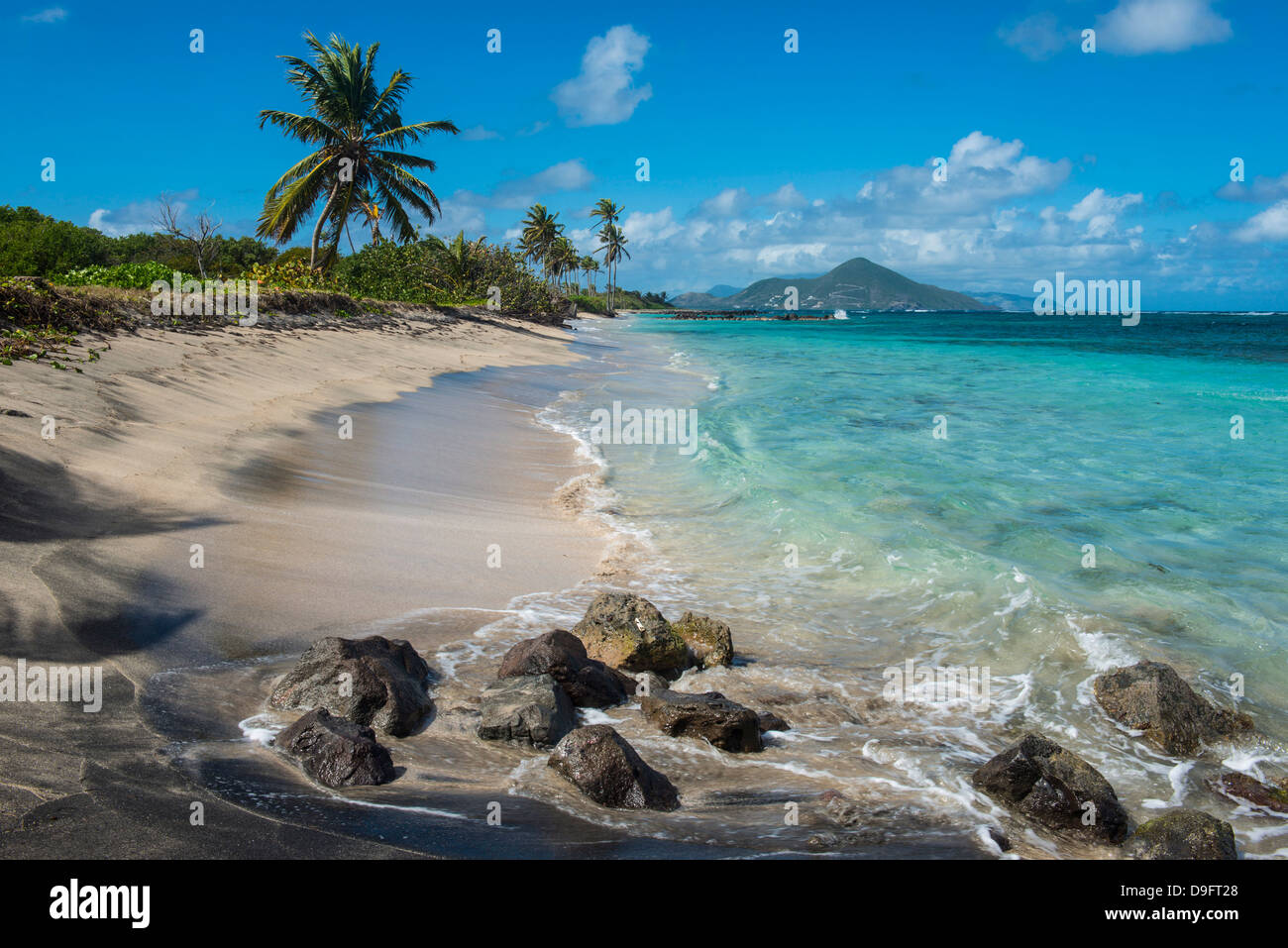 Beach at Long Haul Bay, Nevis Island, St. Kitts and Nevis, Leeward Islands, West Indies, Caribbean - Stock Image