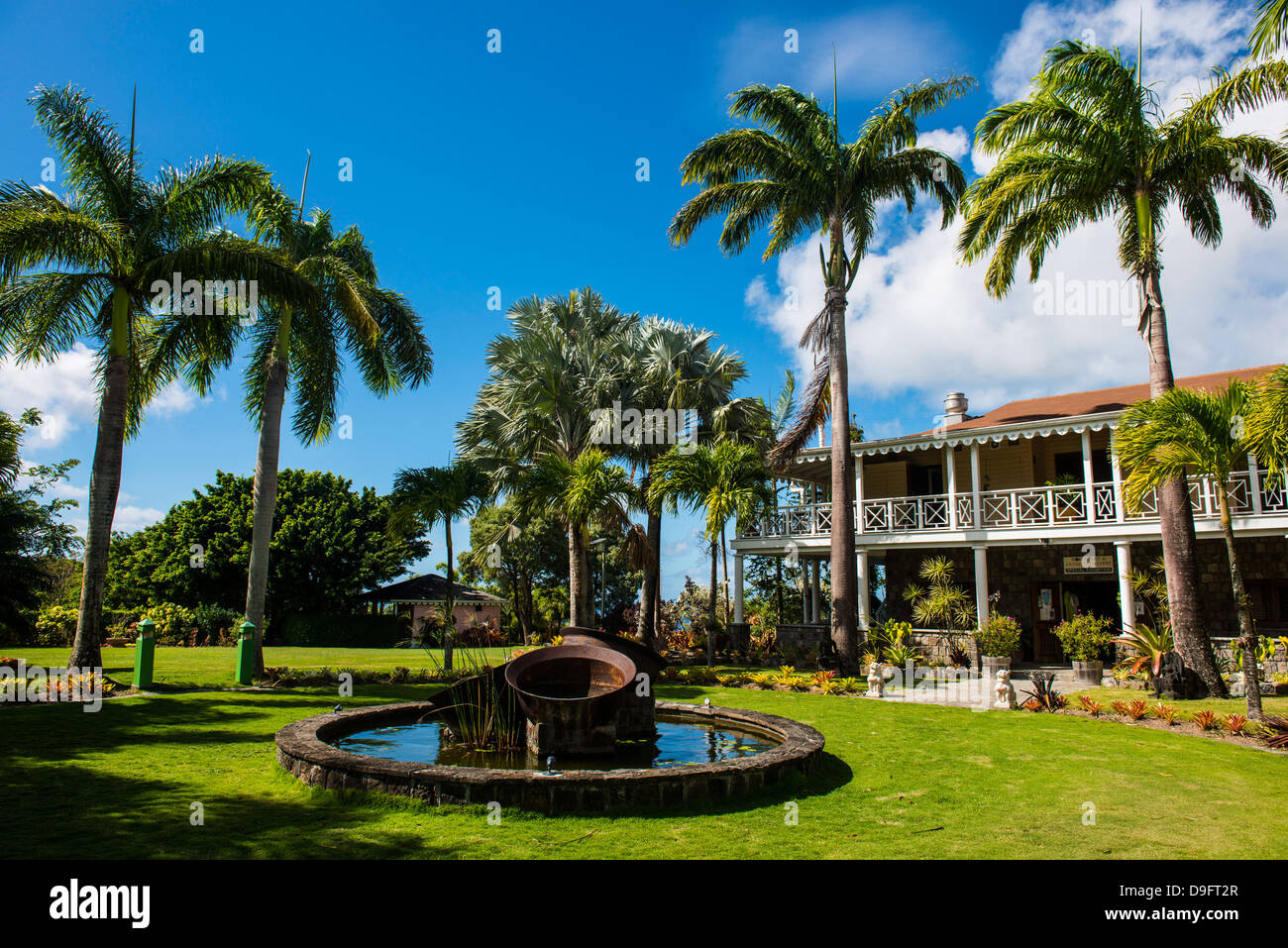 Historical mansion in the Botanical Gardens on Nevis Island, St. Kitts and Nevis, Leeward Islands, West Indies, - Stock Image