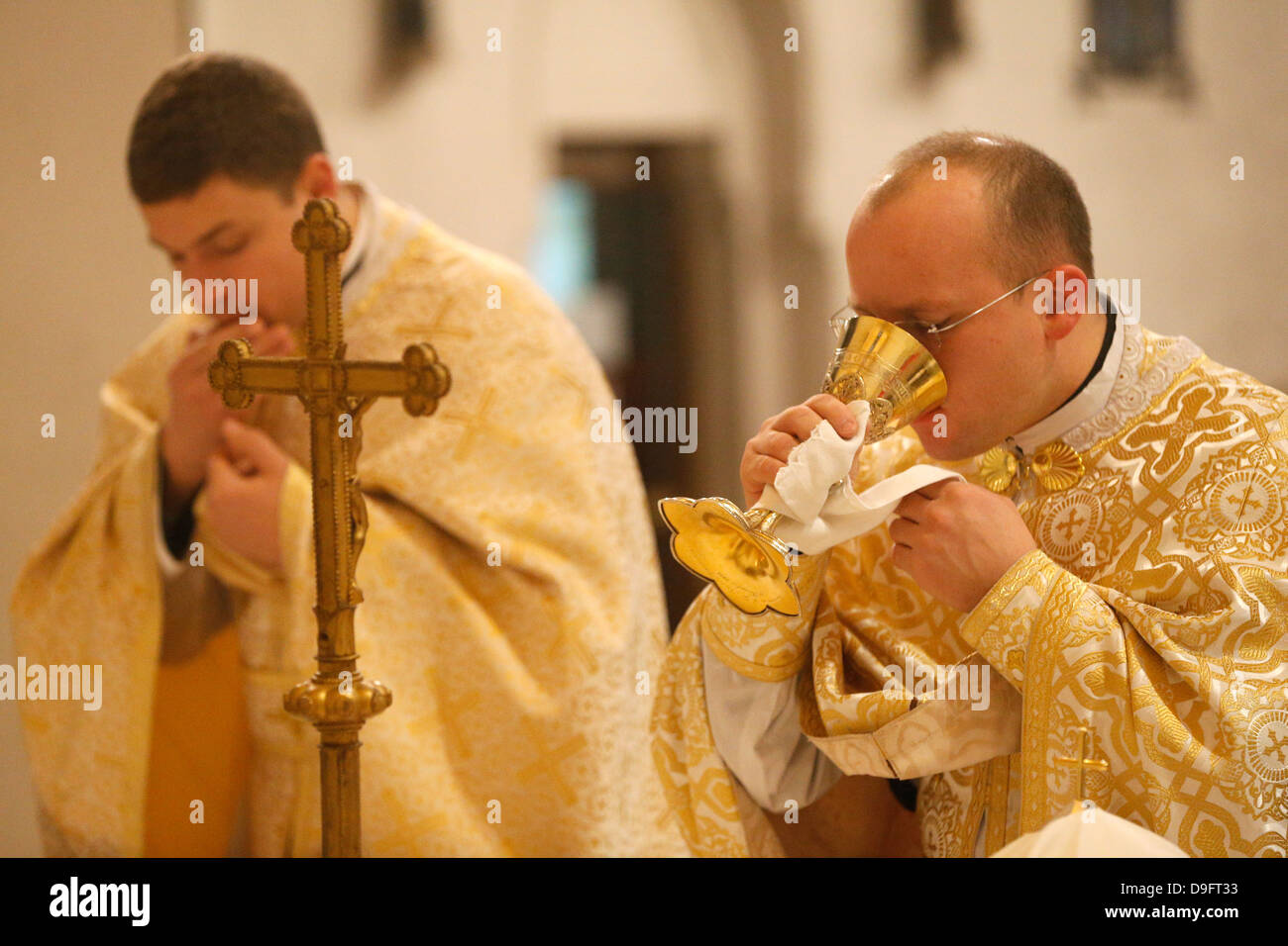 Orthodox Mass, St. Jean Chrysotome liturgy, Villemomble, Seine-St. Denis, France - Stock Image
