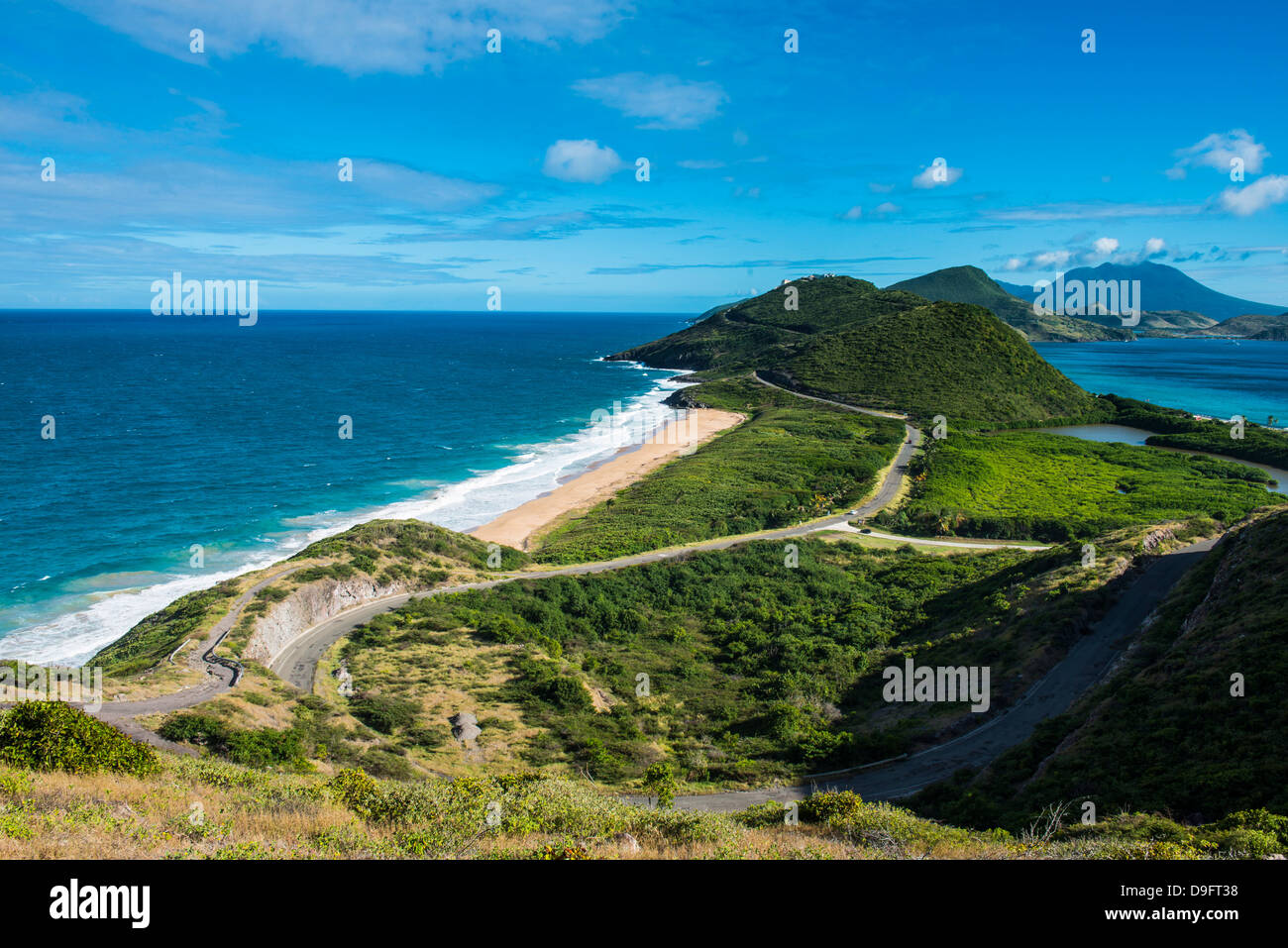 View over Turtle Bay on St. Kitts, St. Kitts and Nevis, Leeward Islands, West Indies, Caribbean - Stock Image