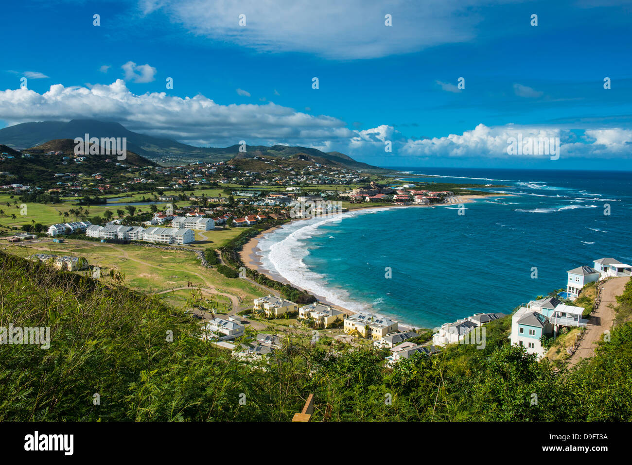 View over North Frigate Bay on St. Kitts, St. Kitts and Nevis, Leeward Islands, West Indies, Caribbean - Stock Image