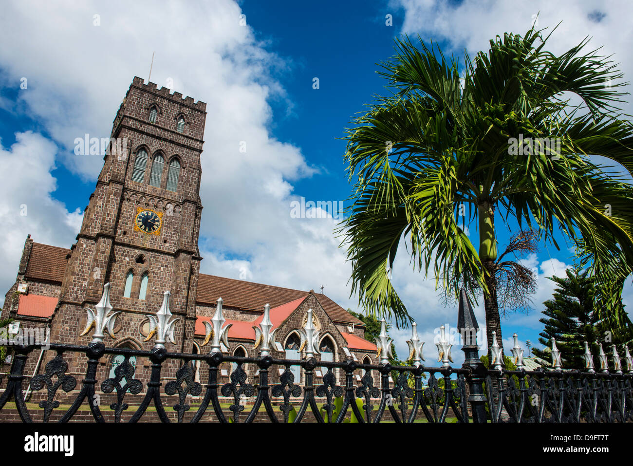St. Johns Anglican church in Basseterre, St. Kitts, St.Kitts and Nevis, Leeward Islands, West Indies, Caribbean - Stock Image
