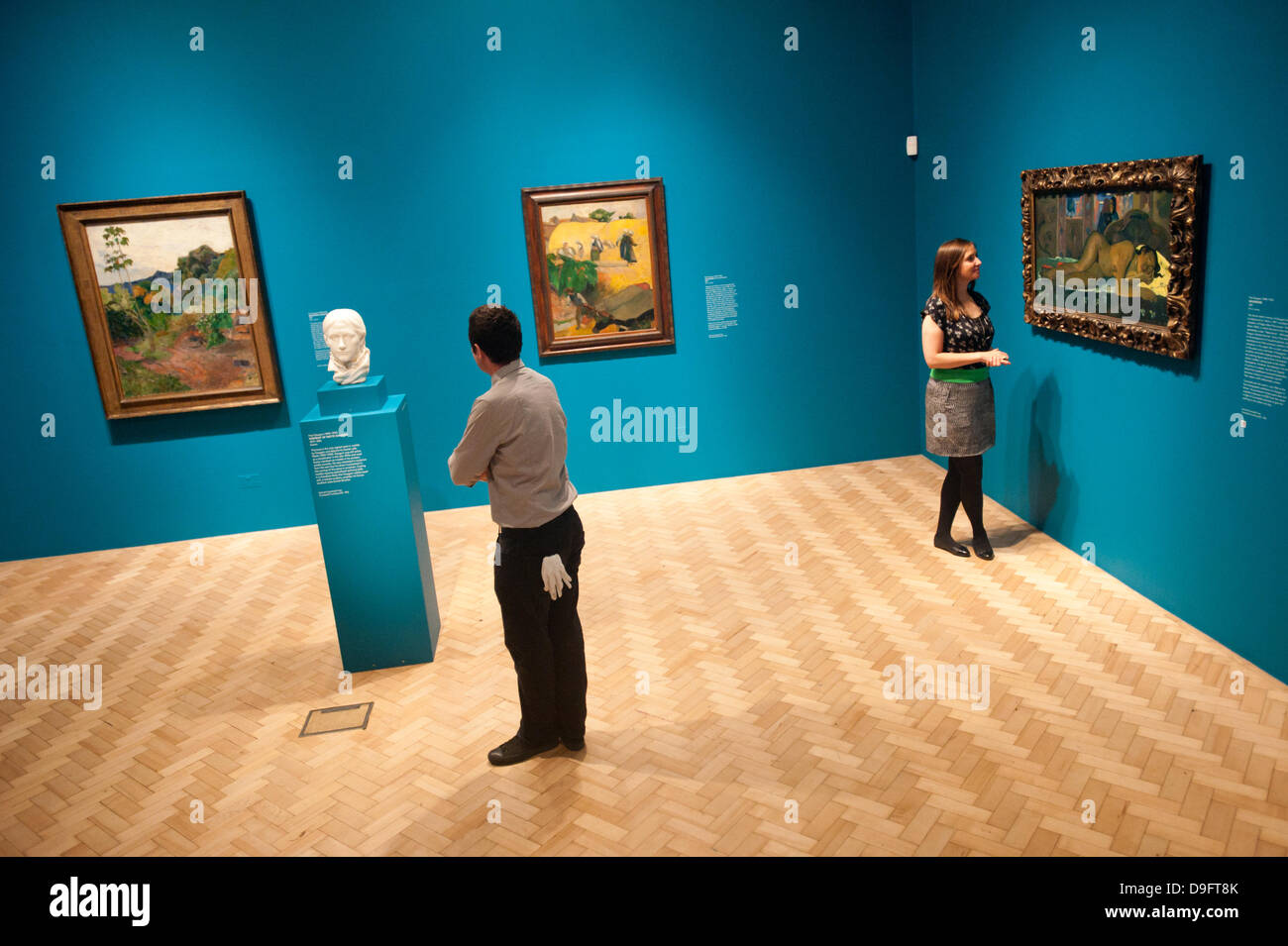 London, UK. 19th June 2013. Hannah Talbot, marketing managar at the Courtauld Gallery and an art technician called - Stock Image