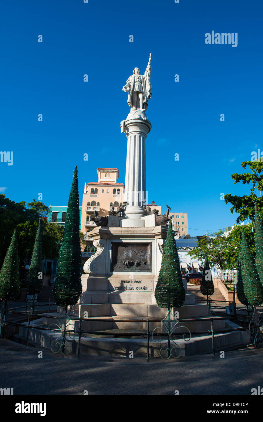 Fountain in a square in the old town of Puerto Rico, West Indies, Caribbean - Stock Image