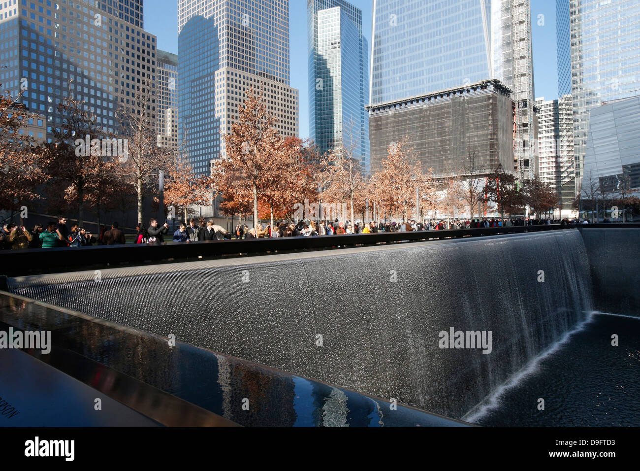 Ground Zero, the National 9/11 Memorial at the site of the World Trade Center in Lower Manhattan, New York, USA Stock Photo