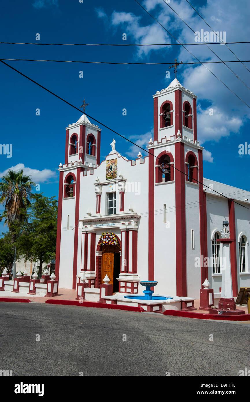 Mexican church in Santiago, Baja California, Mexico - Stock Image
