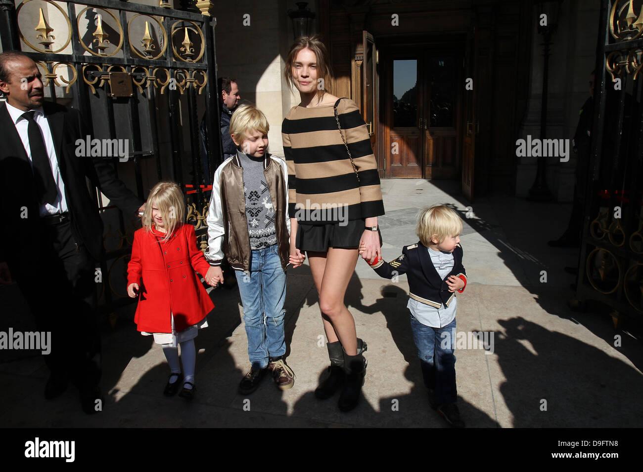 Natalia Vodianova with her children Paris Fashion Week ...