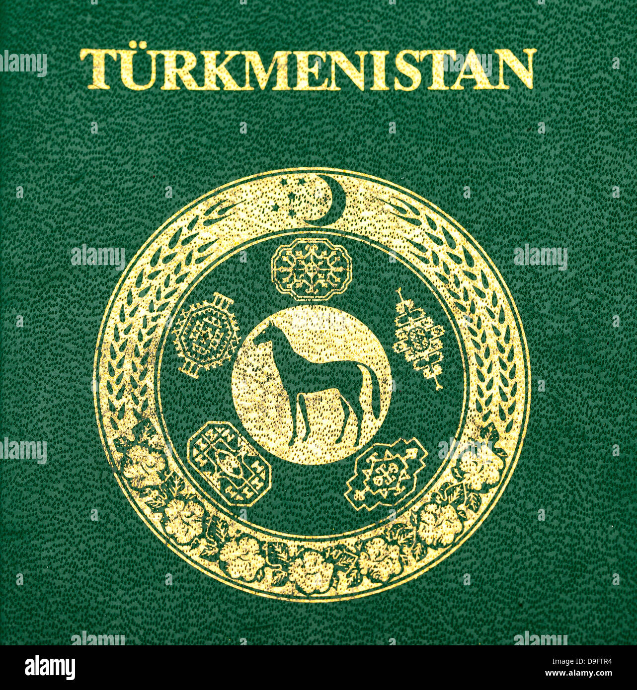 Fragment of the Turkmenistan passport cover - Stock Image