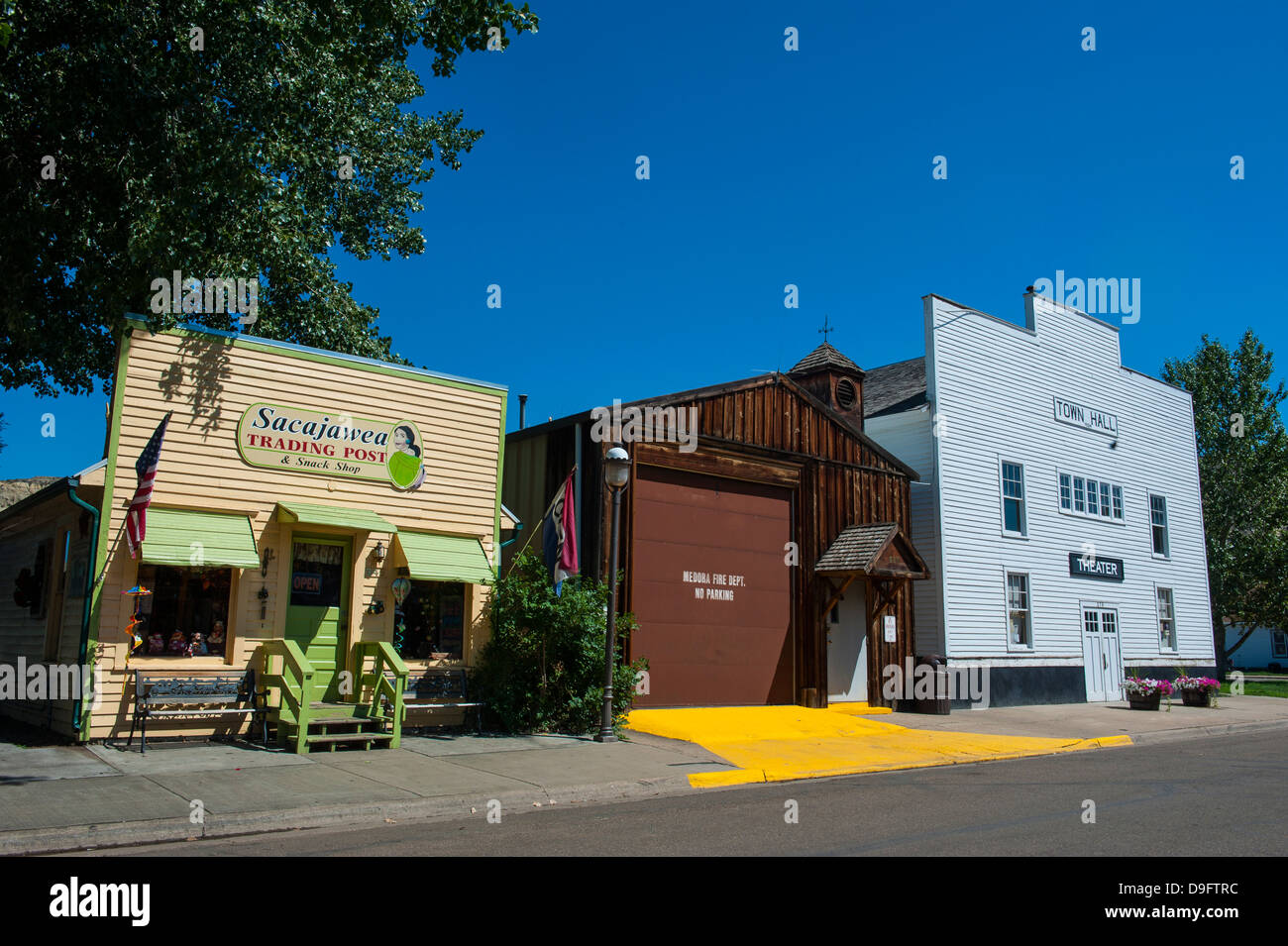The town of Medora in the Roosevelt National Park, North Dakota, USA Stock Photo