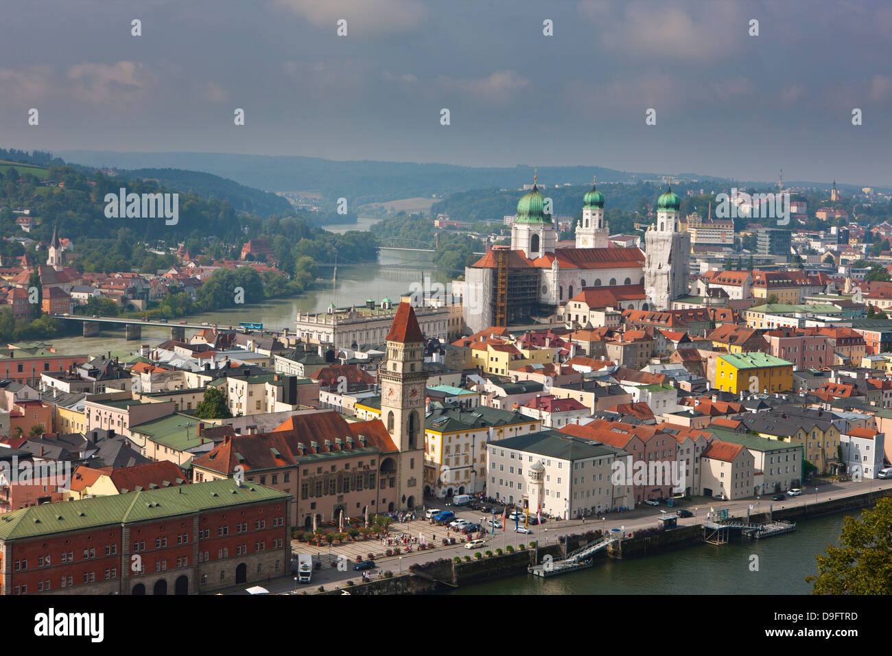 View over the River Danube and Passau, Bavaria, Germany Stock Photo