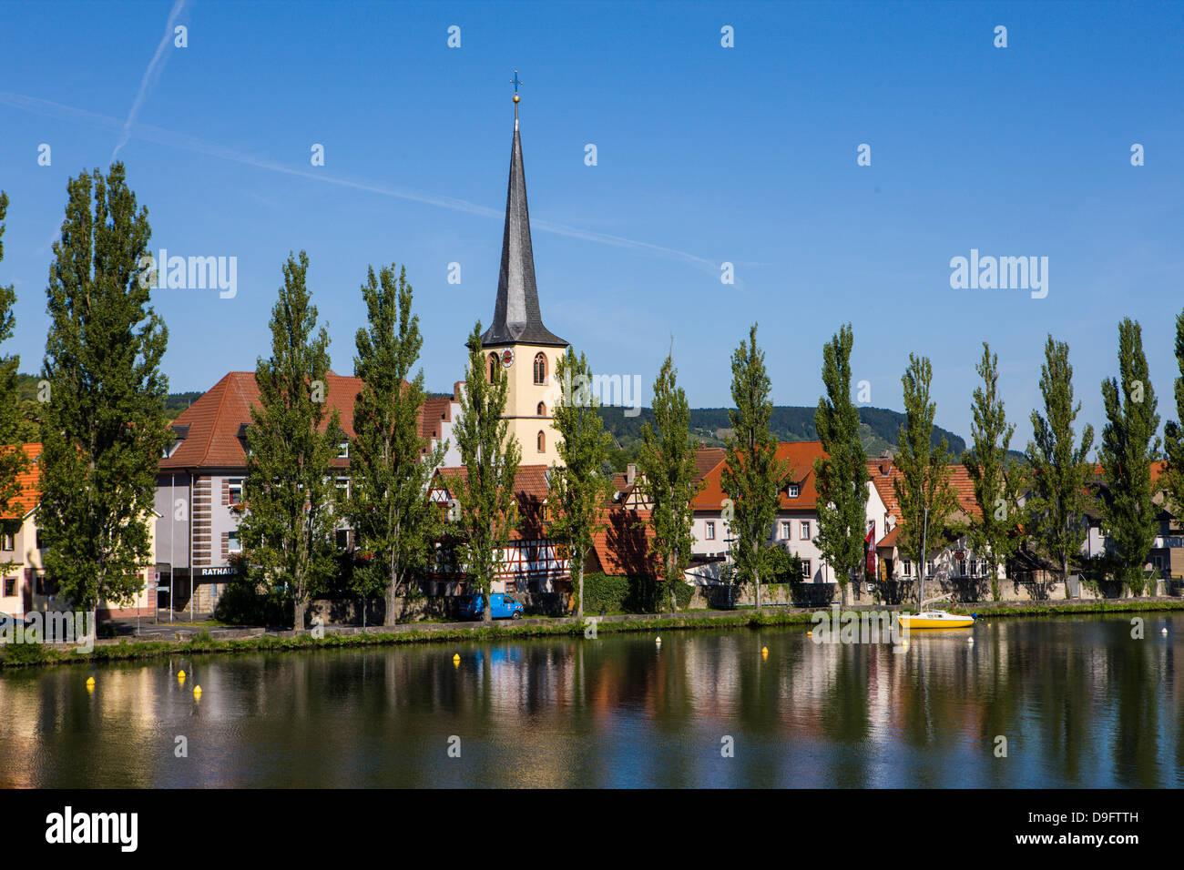Lohr am Main in the Main valley, Franconia, Bavaria, Germany - Stock Image