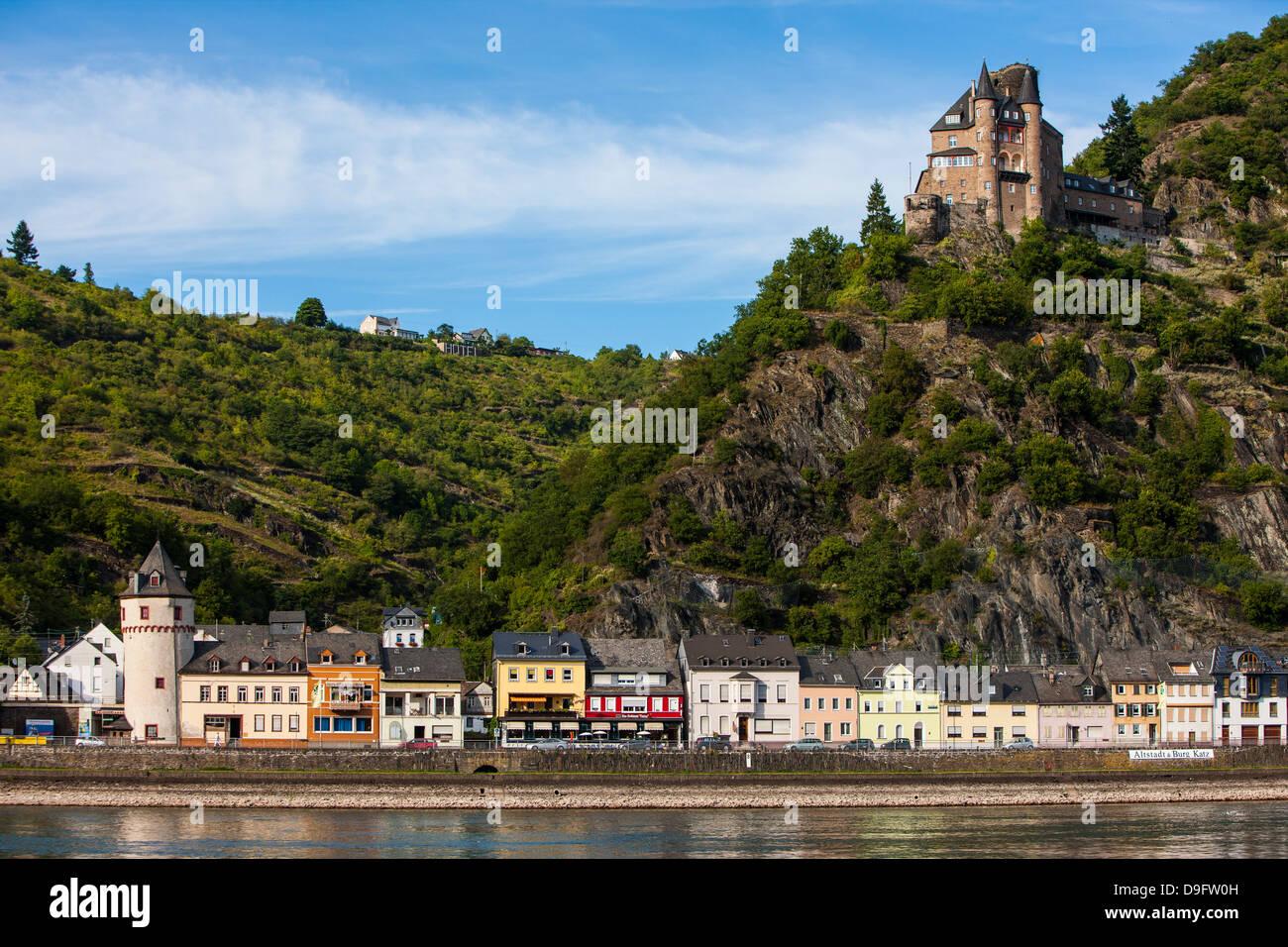 Castle Gutenfels above Kaub in the Rhine valley, Rhineland-Palatinate, Germany - Stock Image