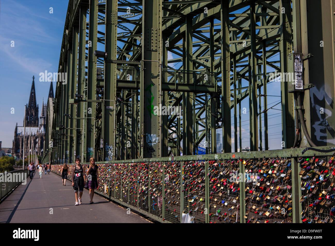 Rhine bridge and Cathedral of Cologne above the Rhine, Cologne, North Rhine-Westphalia, Germany Stock Photo