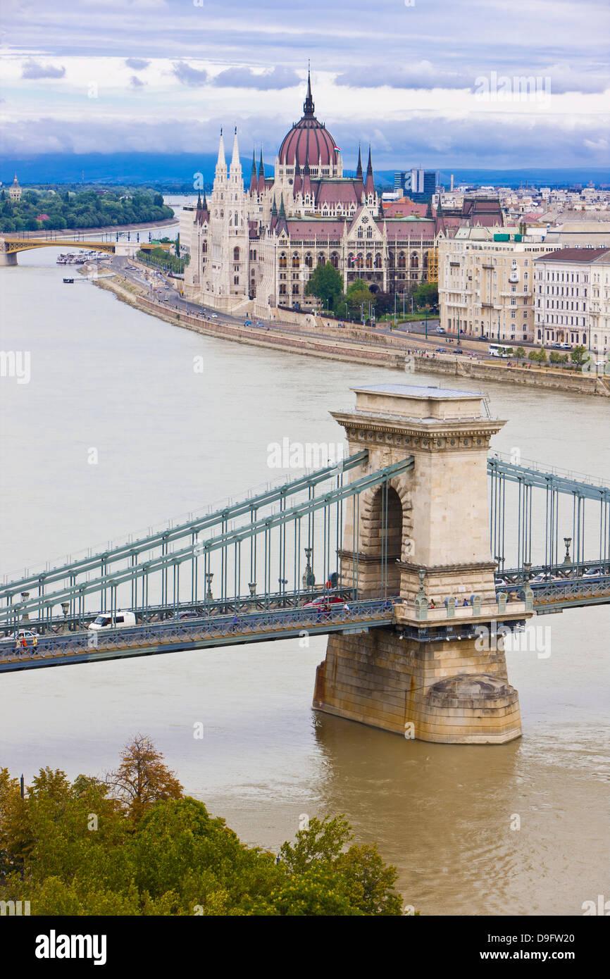 Chain bridge across the Danube, Budapest, Hungary Stock Photo