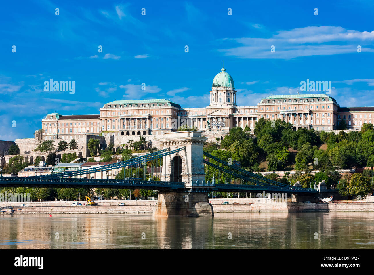 Buda castle above the River Danube, Budapest, Hungary - Stock Image