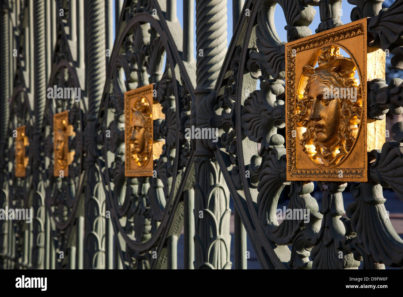 Gates of the Royal Palace of Turin (Palazzo Reale) embossed with a Medusa symbol to fend off intruders, Turin, Piedmont, - Stock Image