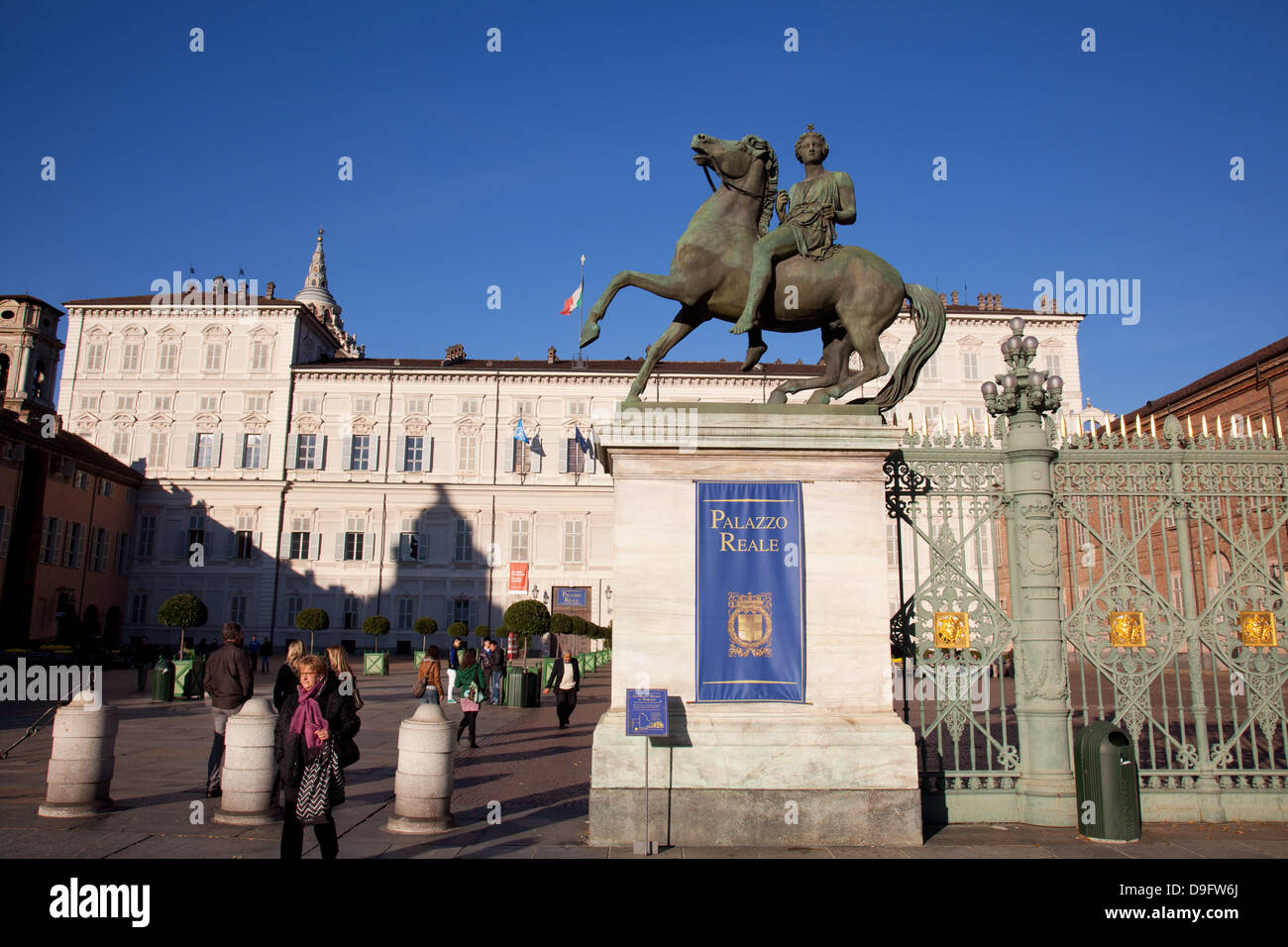 Pollux statue and the Royal Palace of Turin (Palazzo Reale), Turin, Piedmont, Italy Stock Photo