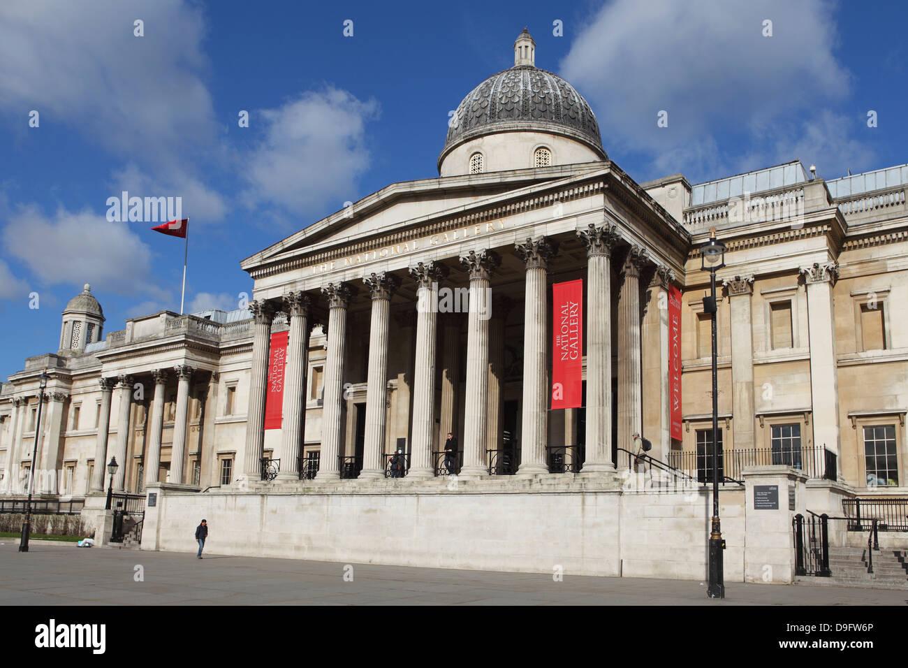 The National Gallery, Trafalgar Square, London, England, UK - Stock Image