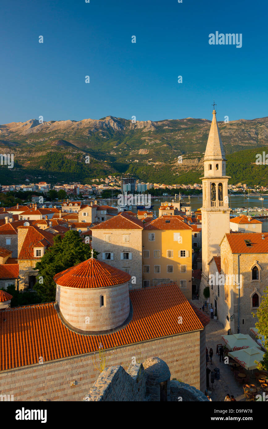 Church of the Holy Trinity on left, and Sveti Ivan (Church of St. John), Old Town (Stari Grad), Budva, Montenegro - Stock Image