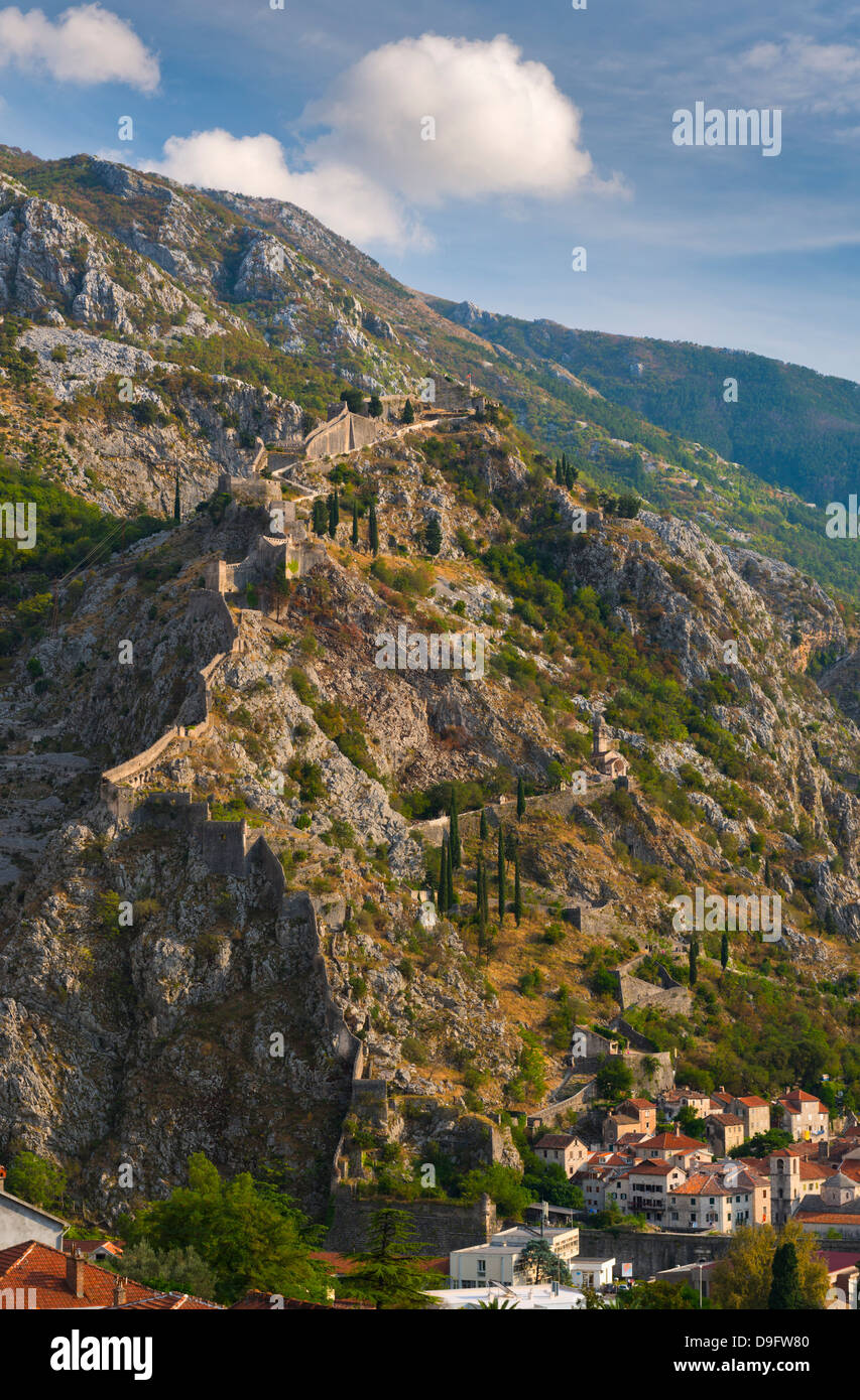 Old Town Fortifications, Kotor, Bay of Kotor, UNESCO World Heritage Site, Montenegro - Stock Image