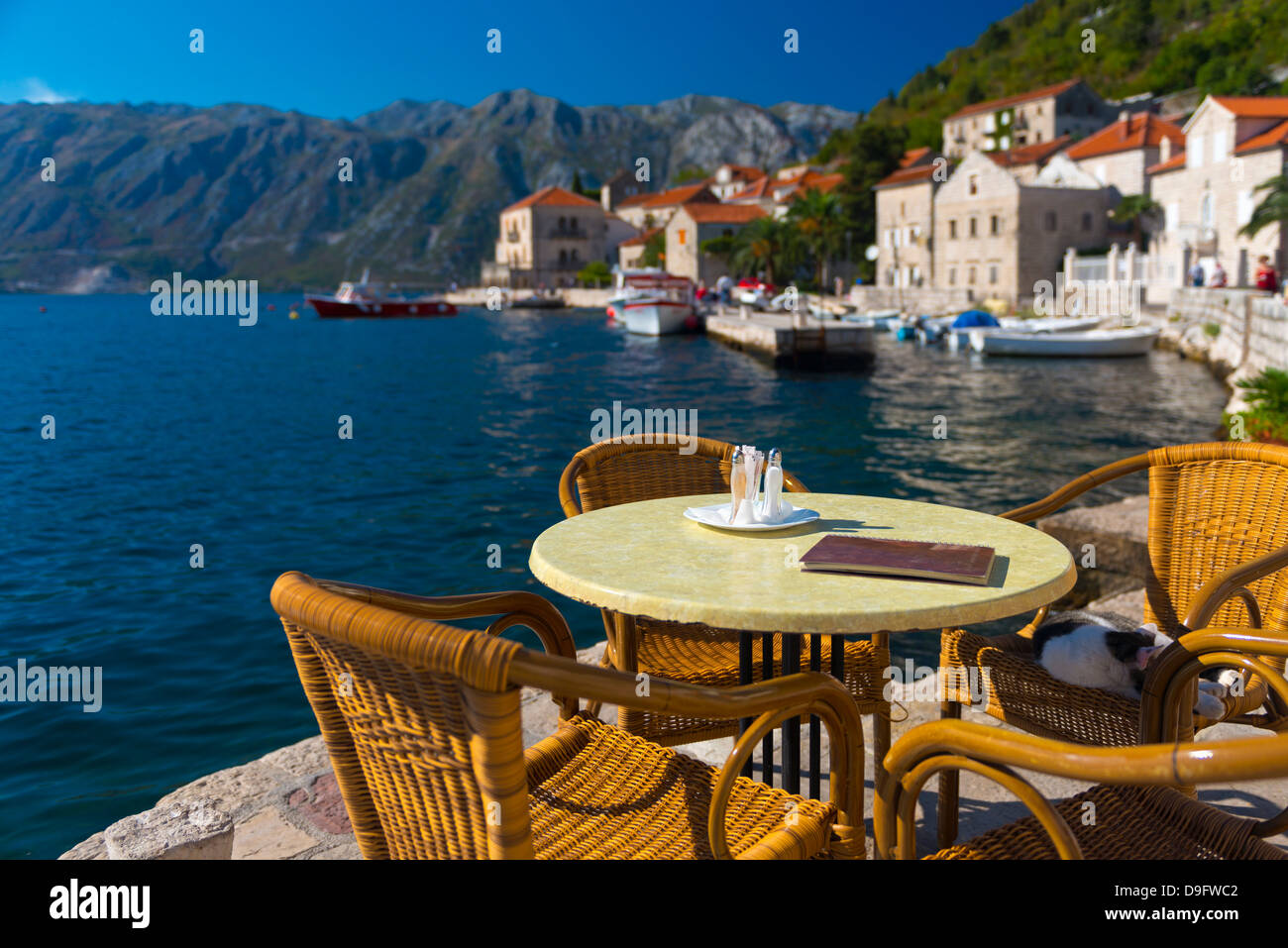Montenegro, Bay of Kotor, Perast, Waterside Cafe - Stock Image