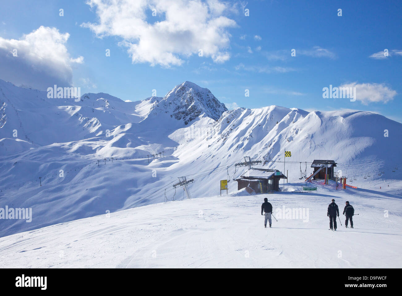 View from Dos Rond, La Plagne, Savoie, French Alps, France - Stock Image