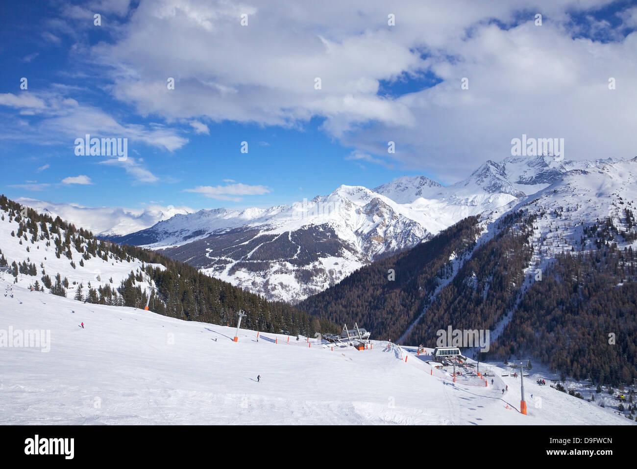 View of Crozats, La Plagne, Savoie, French Alps, France - Stock Image