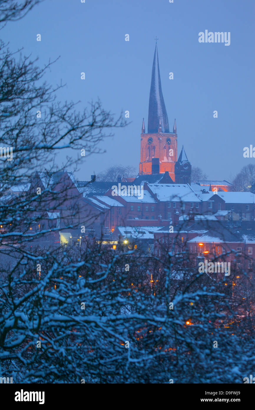 View of town and Crooked Spire Church, Chesterfield, Derbyshire, England, UK - Stock Image