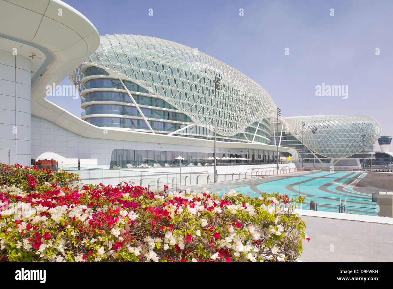 Viceroy Hotel and Formula 1 Racetrack, Yas Island, Abu Dhabi, United Arab Emirates, Middle East - Stock Image