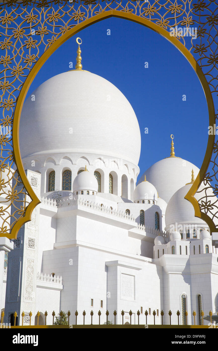 Sheikh Zayed Bin Sultan Al Nahyan Mosque, Abu Dhabi, United Arab Emirates, Middle East - Stock Image