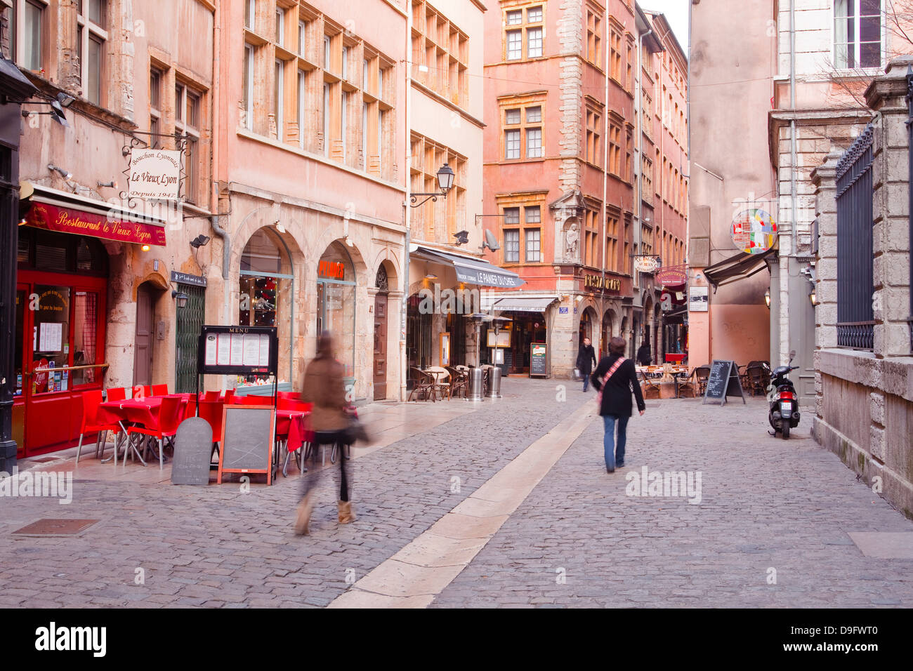 People walking in the streets of old Lyon, Lyon, Rhone-Alpes, France Stock Photo