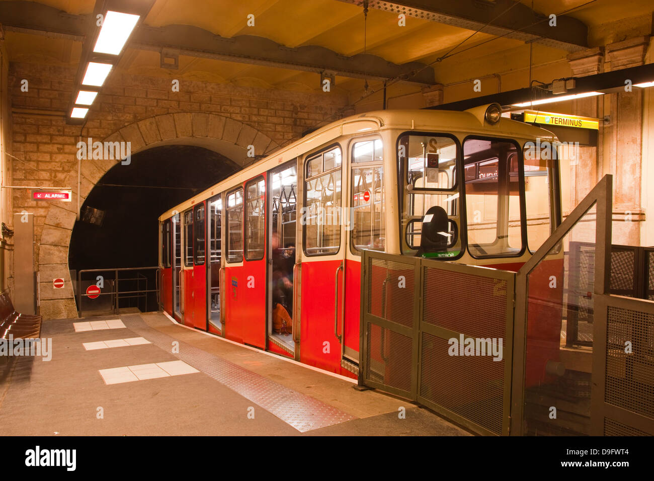 The funicular railway in the city of Lyon, Rhone-Alpes, France Stock Photo