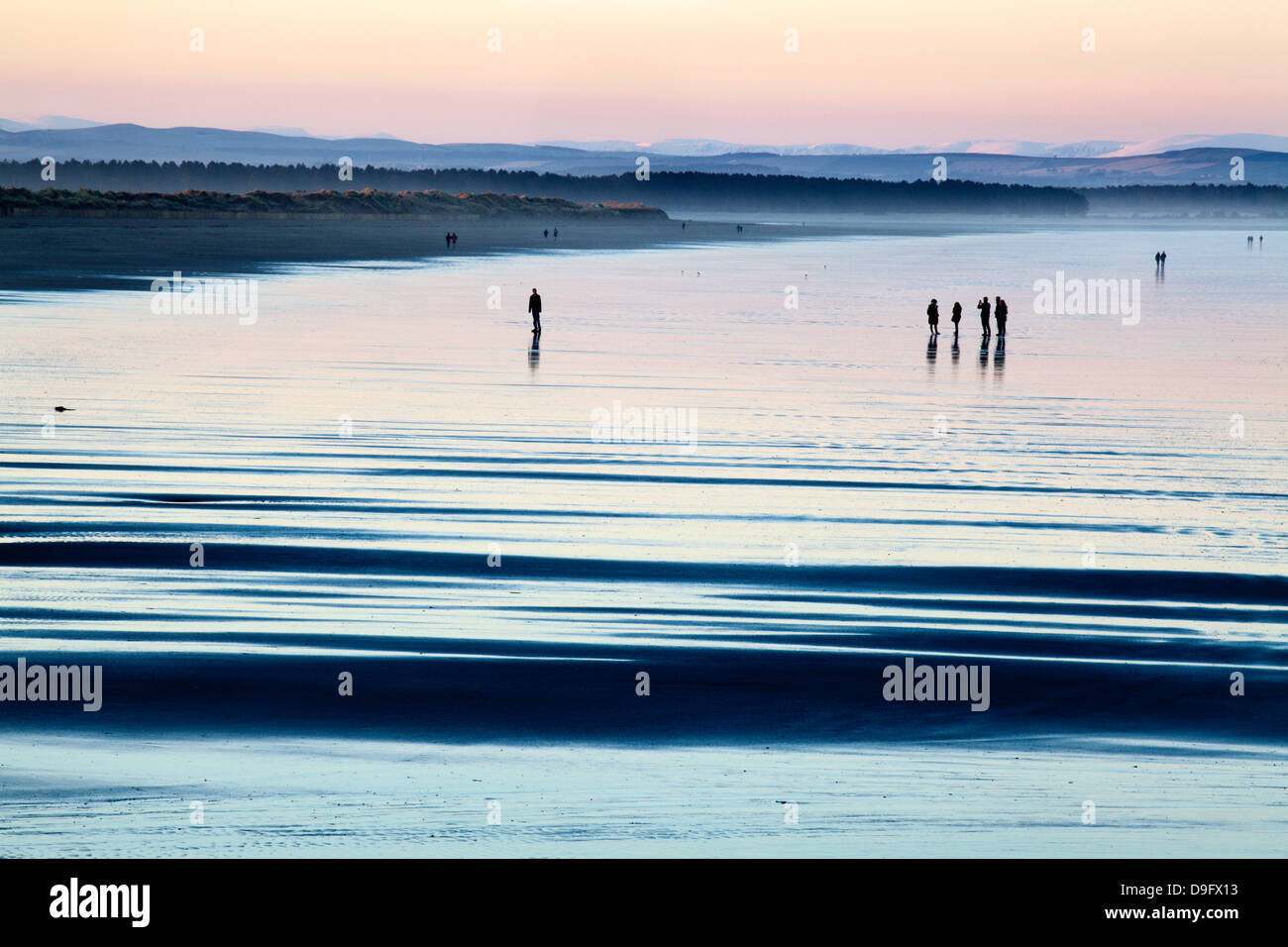 Silhouetted figures on the West Sands at dusk, St Andrews, Fife, Scotland, UK - Stock Image