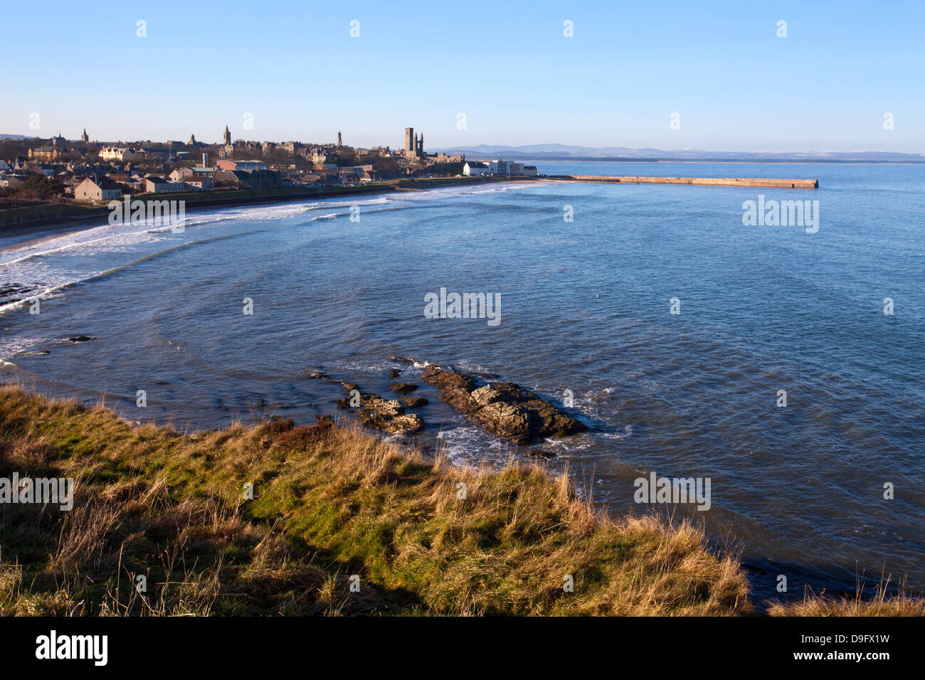 East Sands and Pier from the Clifftop, St. Andrews, Fife, Scotland, UK Stock Photo
