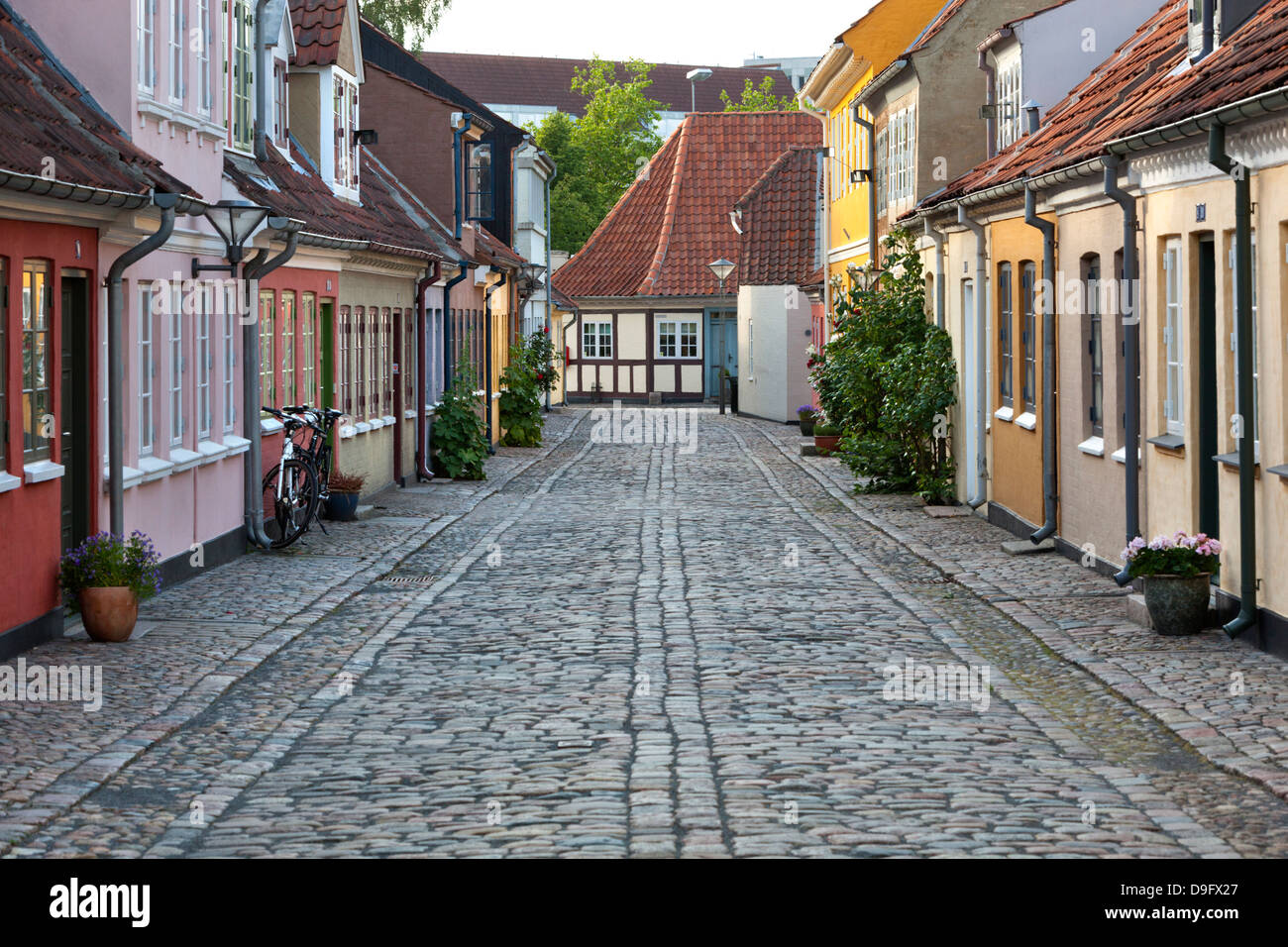 Cobblestone alley in the old poor quarter, City of Beggars, Odense, Funen, Denmark, Scandinavia Stock Photo