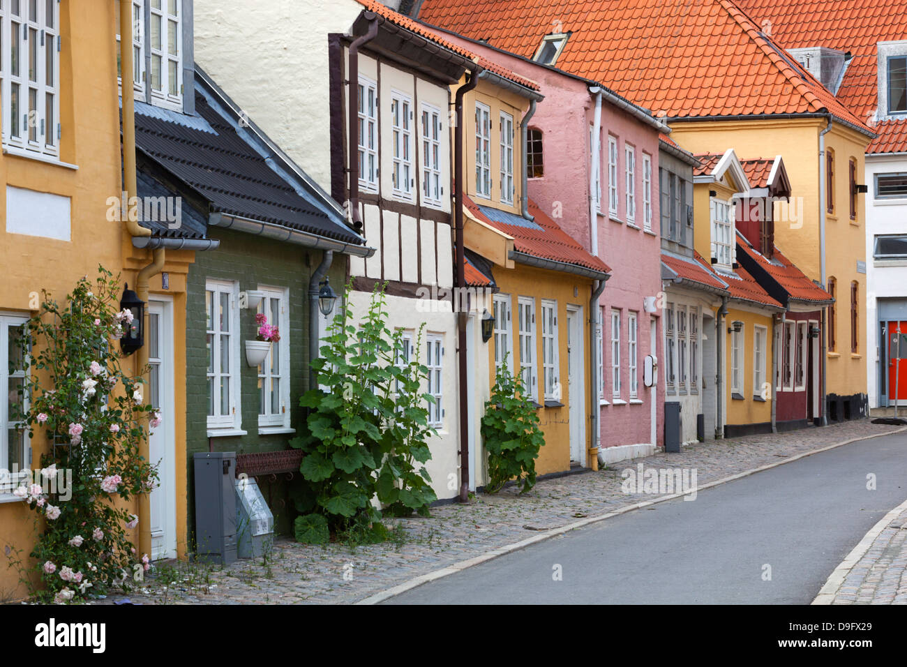 Houses in the old town, Aalborg, Jutland, Denmark, Scandinavia - Stock Image