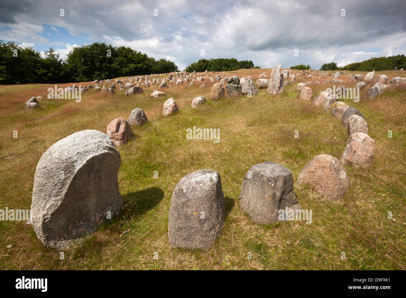 Viking burial ground with stones placed in oval outline of a Viking ship, Lindholm Hoje, Aalborg, Jutland, Denmark, - Stock Image